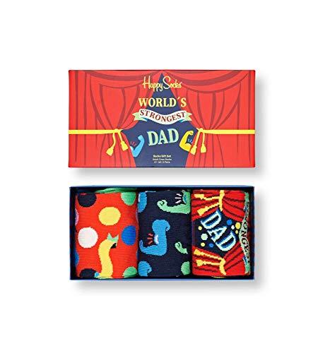 Happy Socks farbenfrohe & verspielte Father´s Day Socks Gift Box 3-Pack Geschenkboxen für Männer & Frauen, Premium-Baumwollsocken, 3 Paare, Größe 41-46.