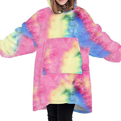 Kids Hoodie Blanket Cute Sherpa Sweatshirt with Front Giant Pocket Oversized Soft Warm Wearable Fluffy Fleece Blanket for Teens Girls Boys(Colorful)