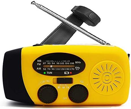Hand Crank Emergency AM FM NOAA Weather Radio Solar Wind Up Radios with 3 Led Flashlight 1000mah product image