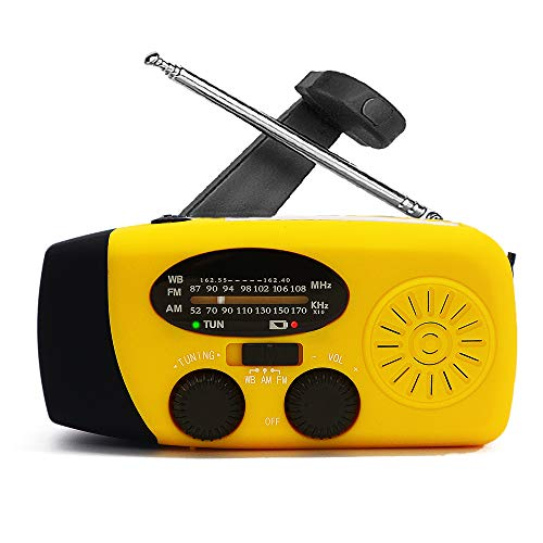 Hand Crank Emergency AM/FM/NOAA Weather Radio, Solar Wind Up Radios with 3 Led Flashlight, 1000mah Power Bank for Household and Outdoor Survival (Yellow)