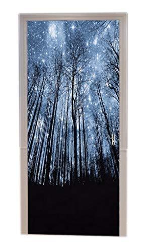A.Monamour Türtapeten Selbstklebend 3D Magie Blau Sternenhimmel Galaxie Nacht Wald Bäume Dunklen Hintergrund Türtapete Türposter Tapete 77x200cm
