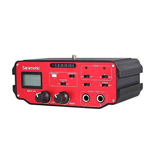 Saramonic BMCC-A01 Universele audio-adapter met dual XLR-ingangen en fantoomvoeding voor Blackmagic design en productie Cinecam camera 4K