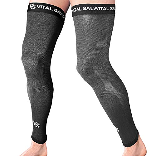 Vital Salveo-Recovery Sports Full Leg Sleeve Thigh Long Knee Support Basketball-Dark Grey (1 Pair) X-Large