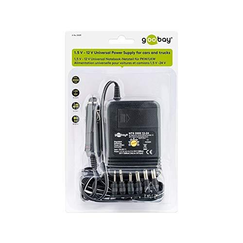 Goobay 53439 12V & 24V Universal KFZ Schaltnetzteil 2000mA mit 1,5V / 3V / 4,5V / 6V / 7,5V / 9V / 12V inkl. 6 Adapterstecker
