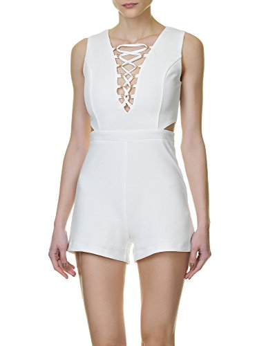 Glamorous Women's Woman's Jumpsuit In Cream Color In Size L White