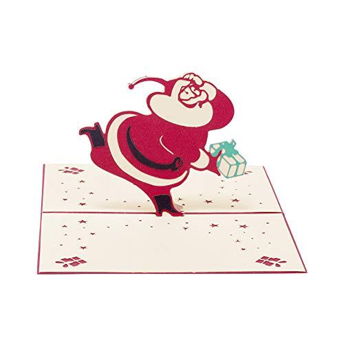 Shuda 3D Christmas Biglietto D' Auguri Pop Up Biglietti Ripiegati Vacanze Per Natale Capodanno San Valentin.O, Compleanno, Red, 10Cm*15 Cm