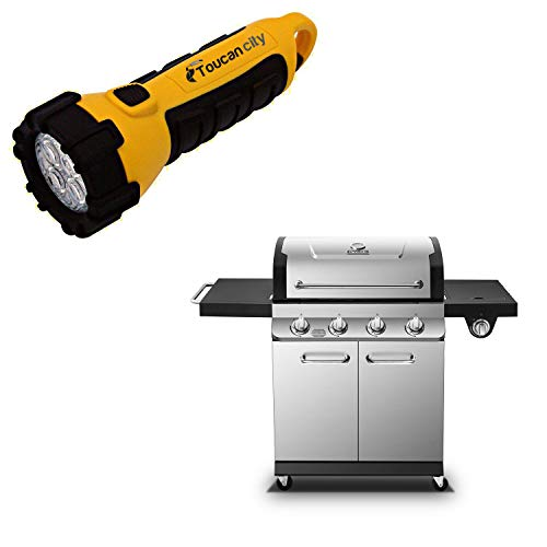 Toucan City LED Flashlight and Dyna-Glo Premier 4-Burner Natural Gas Grill in Stainless Steel with Side Burner DGP483SSN-D
