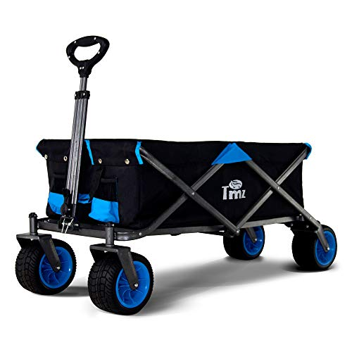 Photo of TMZ All-Terrain Wide Wheels, Foldable Handcart, Folding Trolley, Garden Trolley with Carry Bag, Patented Rear 360° Swivel Wheels, Transport Cart, Beach Cart 92 L, up to 80 kg