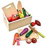CARLORBO Wooden Play Food for Kids Kitchen - Toys Food Vegetables and Fruit for 2 Year Old Boys Girls Role Pretend Play Early Education Montessori Education