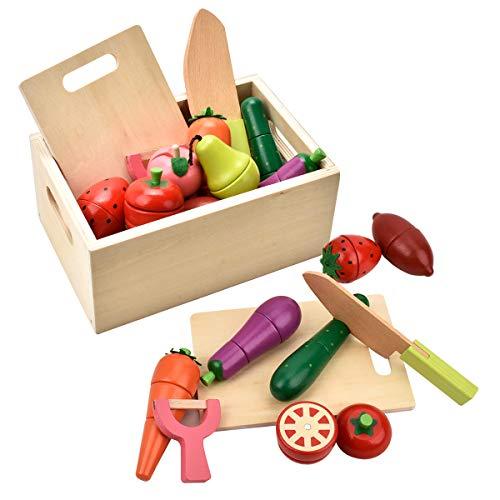 CARLORBO Spielzeug-Lebensmittel Spiellebensmittel Obst und Gemüse Sortiment im Aufbewahrungsbox Küchenspielzeug Spielzeug für Jungen mädchen 2 3 4 5 Jahre