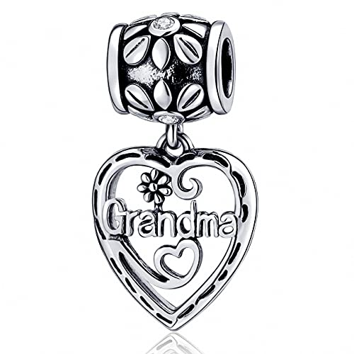 SOUKISS Grandma Heart Charms Authentic 925 Sterling Silver Family Love Charm for European Bracelet (Dangle)