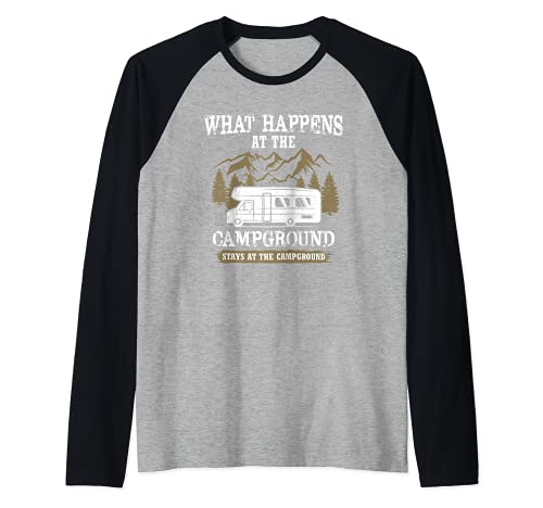 Qué sucede en el camping se queda en el camping Camiseta Manga Raglan