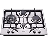 Deli-kitDK245-B03 24 inch 4 Burners gas cooktop gas hob stovetop gas stove LPG/NG Dual Fuel 4 Sealed Burners brass burner Stainless Steel gas cooktop 4 burners Built-In gas hob 110V AC pulse ignition