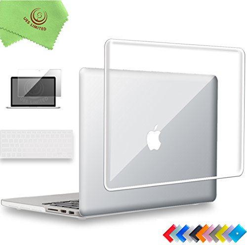 UESWILL 3 in 1 Glossy Crystal Hard Case for MacBook Pro (Retina, 15 inch, Mid 2012/2013/2014/Mid 2015), Model A1398, NO CD ROM, NO Touch Bar + Keyboard Cover and Screen Protector, Transparent
