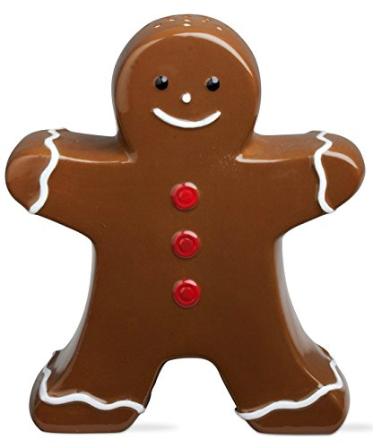 "Traditional Christmas Gingerbread Man Sugar Shaker Ceramic - 5.5"" Brown, Red, & White"