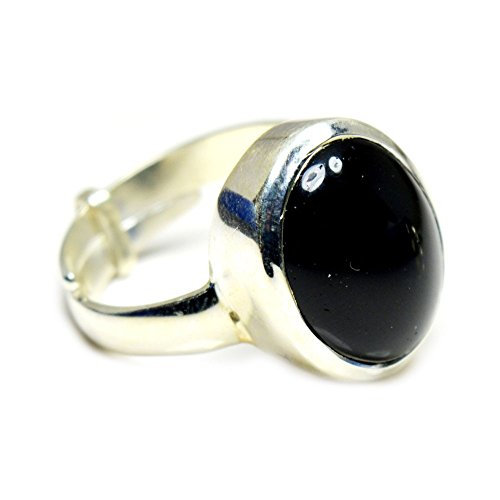 Jewelryonclick 5 Carat Black Onyx Natural Sterling Silver Adjustable Simple for Men Ring Size UK P - T 1/2