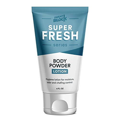 Super Fresh Body Powder Lotion, Talc Free, Anti-Chafing, Deodorizing - No Mess Body Powder for Men and Women by SweatBlock