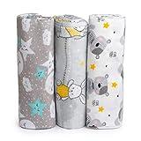 Cangoo Baby Musselin, Neugeborener Flanellbezug, 100% Baumwolle, 3er Pack, Größe 120x120, ideal für Bettwäsche, Handtuch, Bettdecke, Kinderwagenbezug und Wiege, weiches und atmungsaktives Cangoo.