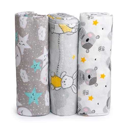 Cangoo Baby Musselin, pasgeborenen flanelovertrek, 100% katoen, 3-pack, afmetingen 120 x 120, ideaal voor beddengoed, handdoek, dekbed, kinderwagentovertrek en wieg, zacht en ademend Cangoo.