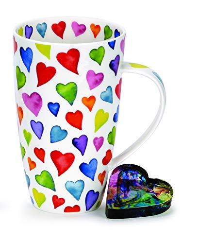 DUNOON Fine Bone China Kaffeebecher/Kaffeetasse warm Hearts/Bunte Herzen (Henley)