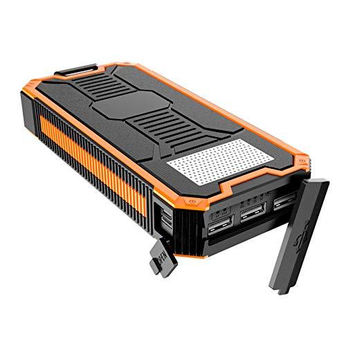 WY&WY Cargador Solar Banco De Energía Solar Portátil De 30000 Mah, Batería Externa De Respaldo con Entrada USB Dual 3 Puertos De Salida, Banco De Energía Compatible con Agua