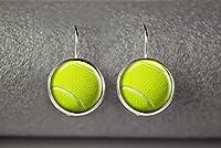 テニスボールピアス、テニスピアス、テニススポーツジュエリー、ドームガラス飾り、ユニークなイヤリング