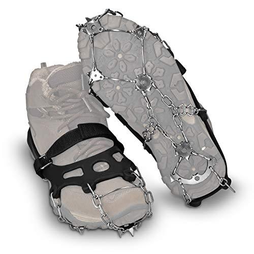 Navaris Spikes für Schuhe - Silikon Schuhspikes mit Edelstahl Ketten - Schnee EIS Wandern Sport - Schuhkrallen für Damen Herren Kinder