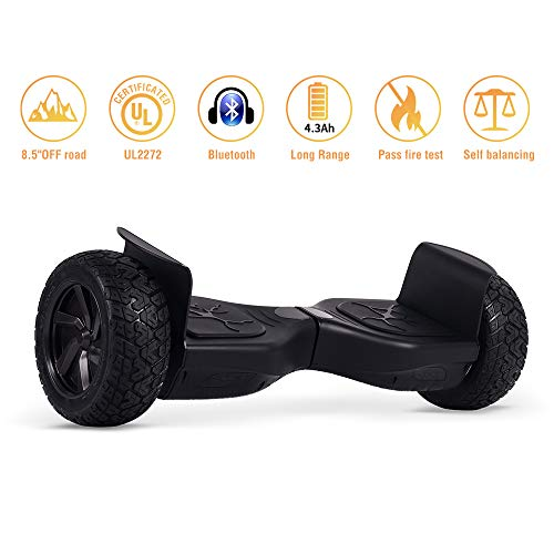 Koowheel Off Road Hoverboard 8.5' All Terrain Hoverboard with Bluetooth Speakers, UL2272 Certified Two Wheel Self Balancing Scooter for Adults and Kids (12Km/h 264lbs Max)- Black