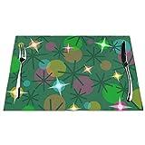 Tcerlcir Set di 6 Tovagliette Luci di Natale Lavabile Antiscivolo Resistente al Calore per la Cucina e la tavola 45x30cm