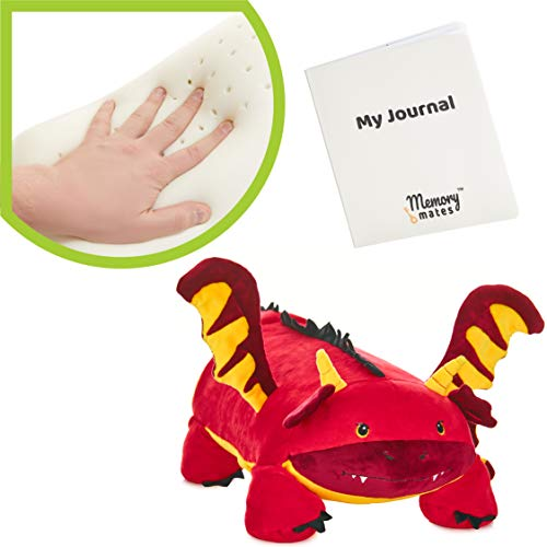 """MEMORY MATES Jax The Red Dragon Memory Foam Pillow Plush with Kid's Diary That Stores in Belly Pocket, 15"""" Stuffed Animal, 6' Journal"""