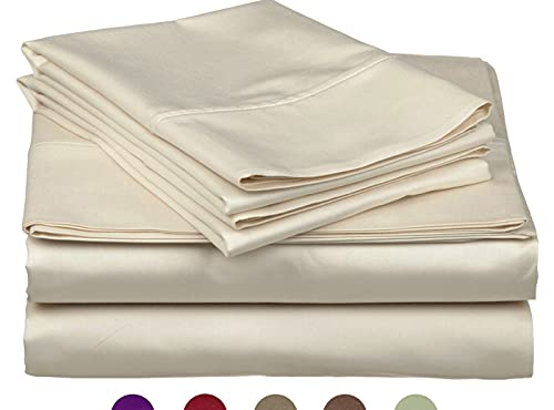 High Strength Natural Bamboo Fiber Yarns Egyptian Comfort 1800 Thread Count 4 Piece King Size Sheet Set, Beige Color