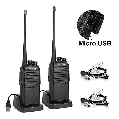 Radioddity GA-2S Ricetrasmittenti UHF 16 canali Ricaricabile Portatili Walkie Talkie Lunga Distanza per operatori sicurezza con sistema di ricarica USB + Doppio auricolare (2 Pezzi)