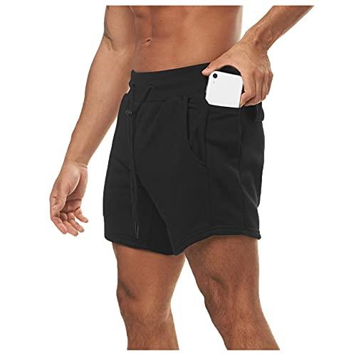 Shorts Deportivos Color Sólido para Hombre Pantalones Cortos Casuales para Jogger Correr Cintura EláStica Pantalones Cortos con Bolsillo Verano