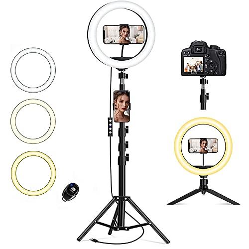 Ringlicht mit Stativ Handy, QI-EU 10.2' Selfie Ringleuchte mit 2 Handyhalter und Fernbedienung 3 Farbe und 11 Helligkeitsstufen Dimmbare Tischringlicht...