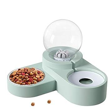 OMEW Bols pour Chats, Gamelles Chats Bol Distributeur Automatique d'eau pour Animaux de Compagnie Petits Chiens et Chats 2 en 1