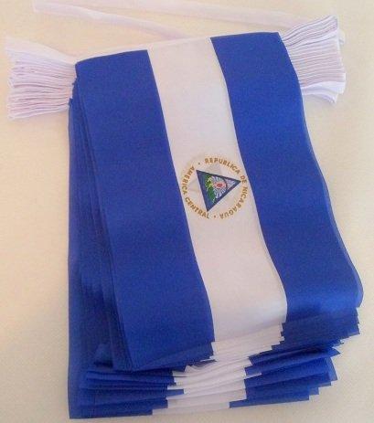 AZ FLAG Guirnalda 6 Metros 20 Banderas de Nicaragua 21x15cm - Bandera NICARAGÜENSE 15 x 21 cm - BANDERINES