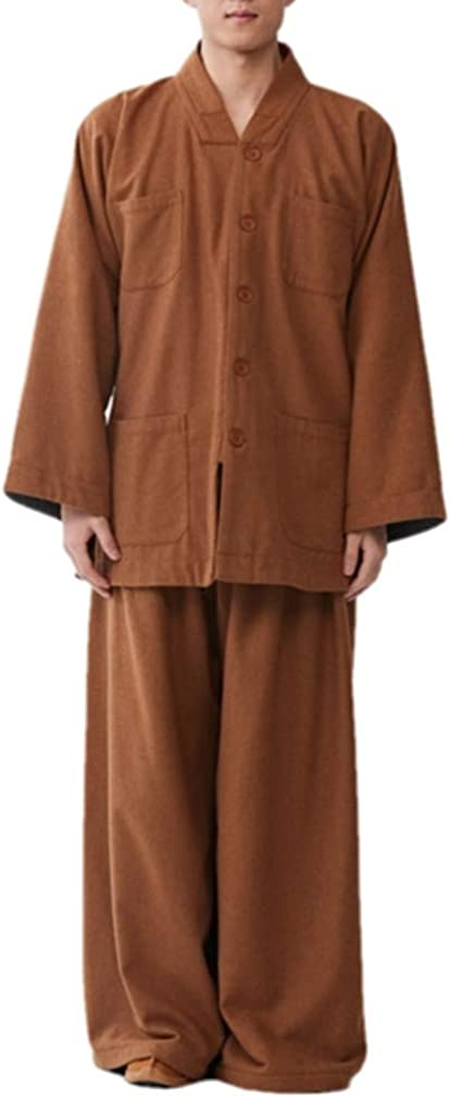 ZanYing Men's Medieval Monk Suits Thickened Wool Yoga Kung Fu Suit Brown