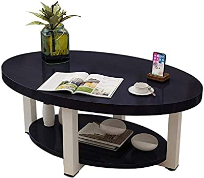 Selected Furniture/Small Coffee Table Simple Modern Living Room Desk Mini Round Coffee Table European Economical Creative mputer Table Leisure (Color : Black, Size : 80 * 50 * 45CM)
