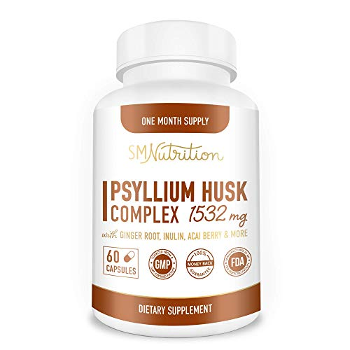 Psyllium Husk Complex - 1080mg of Psyllium Husk Powder (60 High Fiber Capsules) Fiber Supplement with Psyllium + 10 Herbs Supports Digestion, Intestinal Health & Regularity*