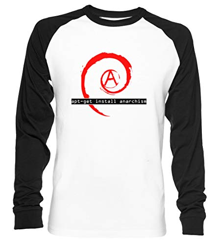 Apt-Get Install Anarchism Unisex Camiseta De Béisbol Manga Larga Hombre Mujer Blanca Negra