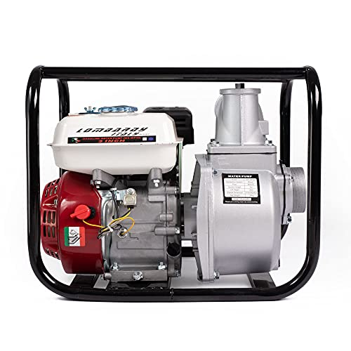 AMC Motopompa a scoppio con motore 4 tempi fino a 1000 litri al minuto per giardinaggio ed irrigazione, pompa a centrifuga autoadescante a benzina, con attacco da 3 pollici
