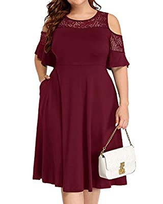 Pinup Fashion Women's Plus Size Burgundy Red Cocktail Cold Shoulder Formal Party Wedding Guest Maroon Bridesmaid Dress with Pockets