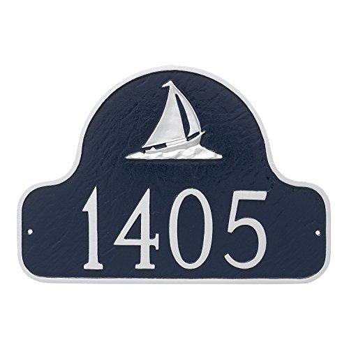 Montague Metal PCS-0080S1-W-NS Sailboat Arch Address Sign Plaque, 11