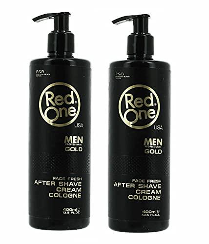 Redone After Shave Balsam Herren - Cream Cologne Men - 2x400ml - Aftershave Gel Männer - Rasur Nachbehandlung - pflegt und kühlt - gegen Rasur Brand - Gesichtspflege - Friseur bedarf (2x GOLD)