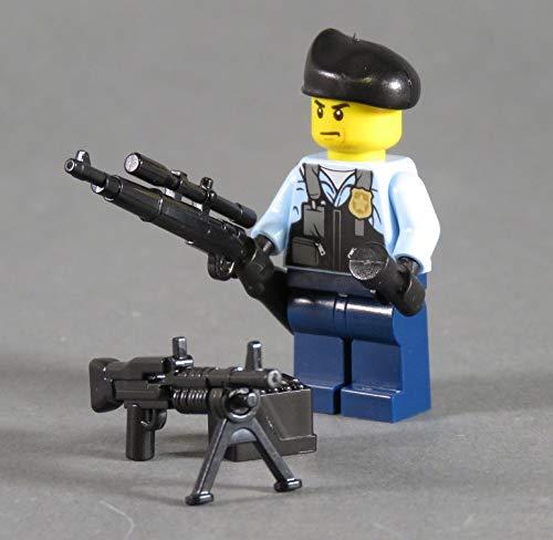 Markenwelt-Voegele Polizei Figur Polizist SWAT aus Lego ® und Custom Teilen mit Zubehör Beret