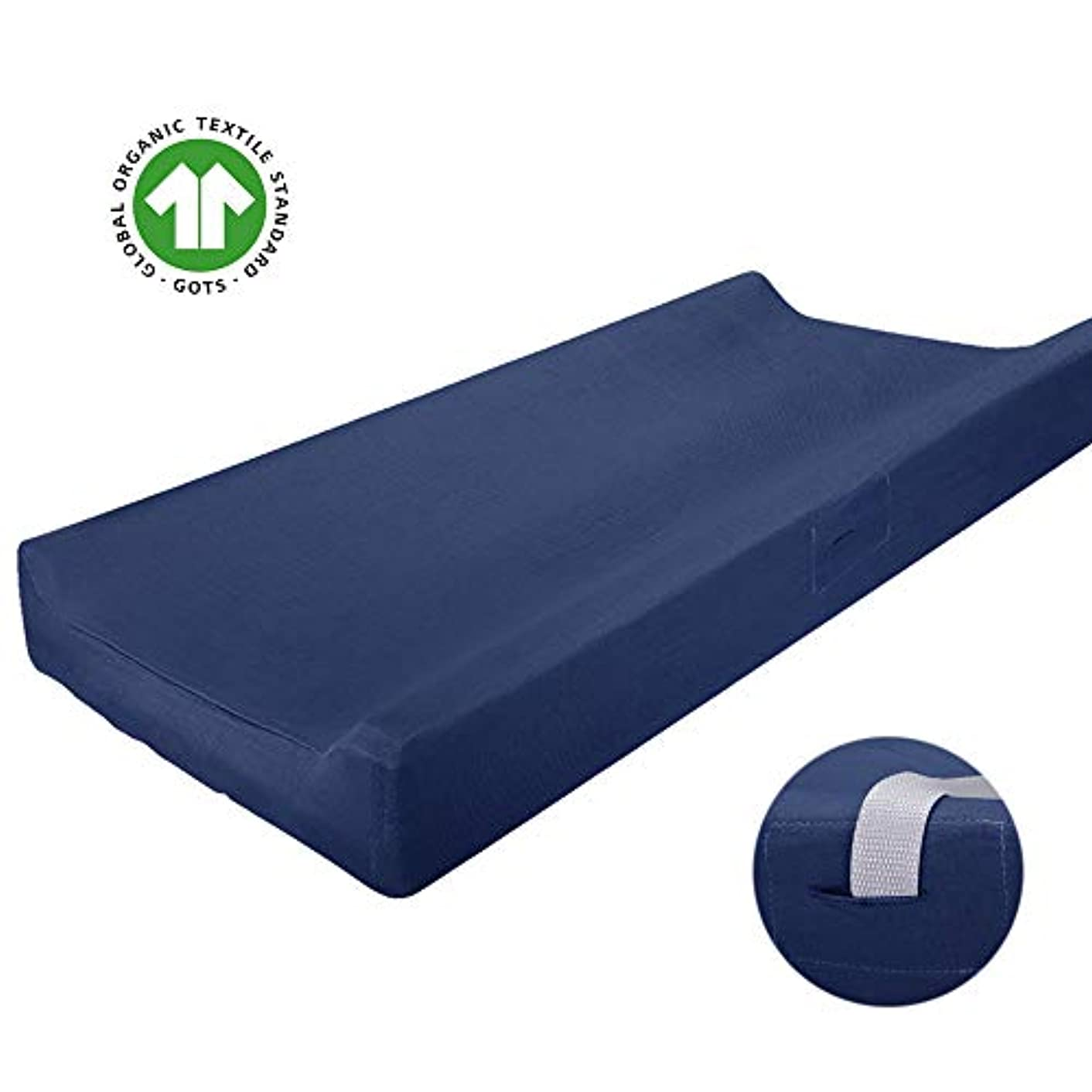 Mueen Life Changing Pad Cover - Soft&Stretchy Change Table Sheet Cradle Sheet for Boy Girl, 100% Organic Cotton, Fitted 32'' x 16'' Standard or Contoured Changing Pad (1 Pack - Navy)