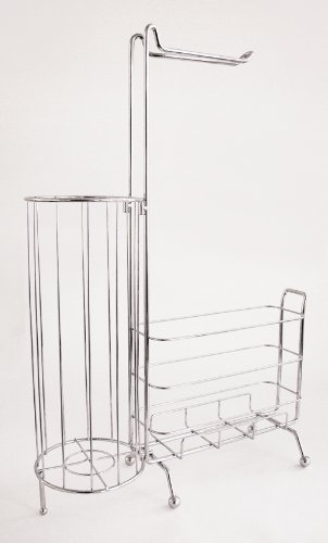 Splash Home Free Standing Toilet Paper Holder Plus A Storage For Books In The Bathroom 23 x 6 x 11 Inches Chrome