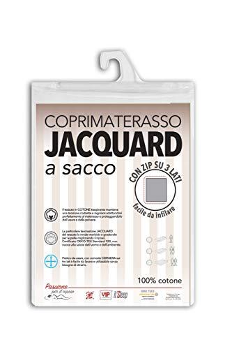 V.I.P. Very Important Pillow V.I.P. Sacco Coprimaterasso in Cotone Fasciato Lavorazione Jacquard con Zip, Facile da Infilare, Matrimoniale cm 170 x 200 h. 27 cm, Cerniera su 3 Lati, 22
