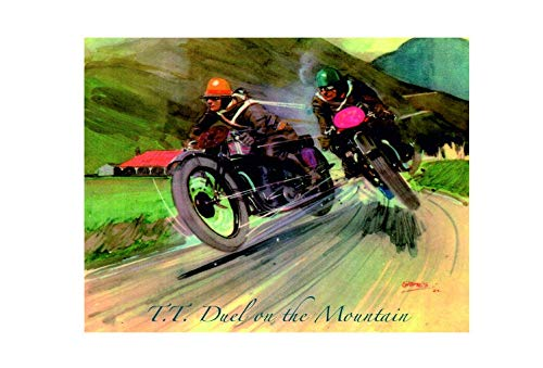 Tt Duel On The Mountain Motorbikes Vintage Style Metal Advertising Wall Plaque Sign Or Framed Picture Frame,Aluminum Metal Signs Tin Plaque Wall Art Poster for Home Decor 12'x8'