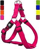 DDOXX Arnés Perro Step-In Nylon, Ajustable | Diferentes Colores & Tamaños | para Perros Pequeño, Mediano y Grande | Accesorios Gato Cachorro | Rosado Pink, M
